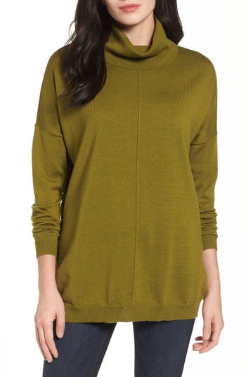 Women's Eileen Fisher Merino Wool Boxy Turtleneck Sweater, Size XX-Small - Green