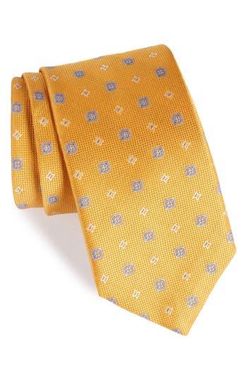 Men's David Donahue Neat Silk Tie, Size Regular - Yellow