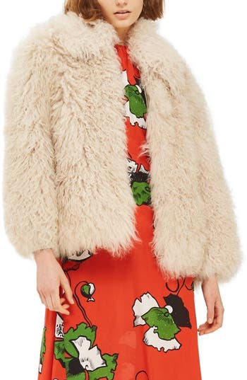 Topshop Genuine Shearling Fur Shaggy Jacket, Ivory