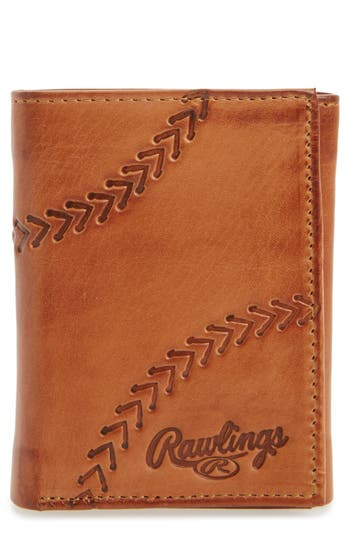 Rawlings Line Drive Trifold Leather Wallet - Brown