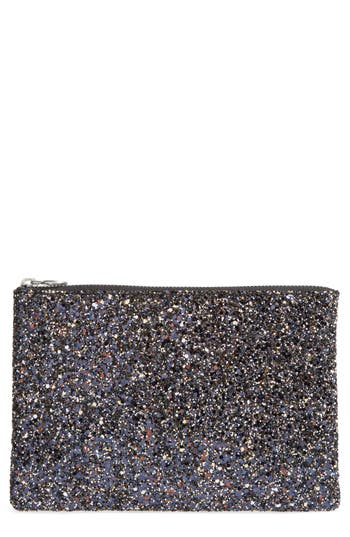 Madewell The Leather Pouch Clutch: Glitter Edition - Black