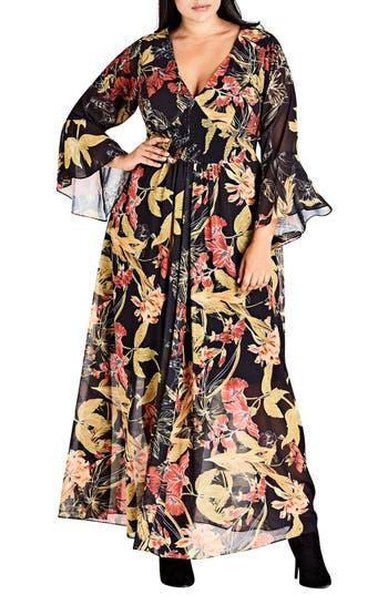 Plus Size Women's City Chic Gold Floral Maxi Dress