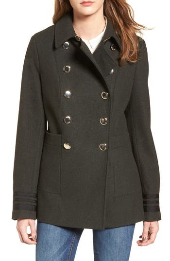 Women's Calvin Klein Grosgrain Double-Breasted Peacoat, Size X-Small - Green