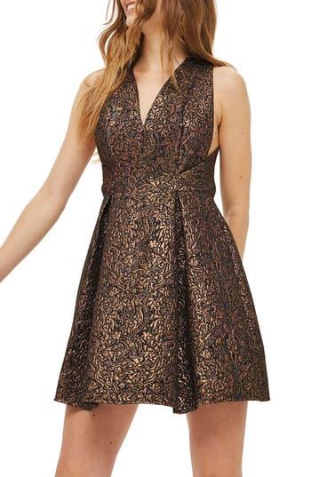 Topshop Opulent Jacquard Skater Dress, US (fits like 0) - Metallic