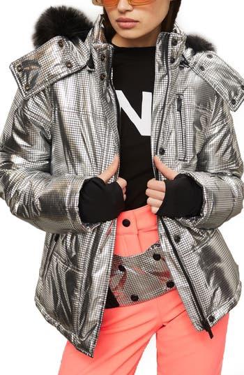 Women's Topshop Sno Rio Faux Fur Hood Metallic Puffer Jacket, Size 2 US (fits like 0) - Metallic