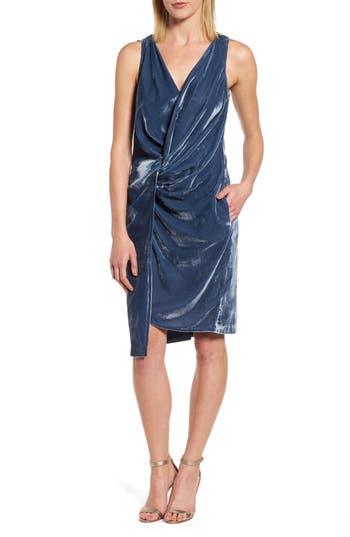 Women's Kenneth Cole Twisted Faux Wrap Velvet Dress, Size 14 - Blue
