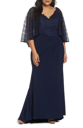 1930s Evening Dresses | Old Hollywood Dress Plus Size Womens MAC Duggal Lace Capelet Column Gown Size 20W - Blue $538.00 AT vintagedancer.com