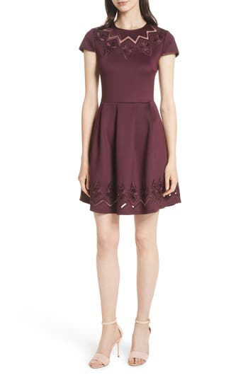 Ted Baker London Mesh & Lace Trim Skater Dress, Purple