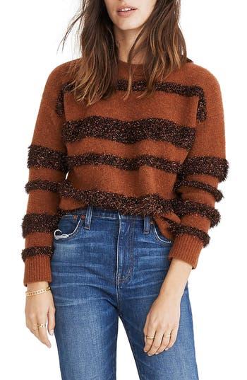 Women's Madewell Tinsel Stripe Sweater, Size Small - Grey