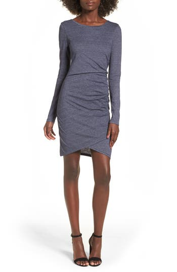 Leith Ruched Long Sleeve Dress, Blue