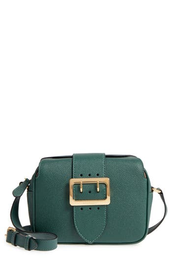 Burberry Leathers SMALL BUCKLE LEATHER CROSSBODY BAG - GREEN