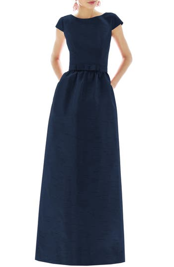 Alfred Sung Cap Sleeve Dupioni Full Length Dress, Blue