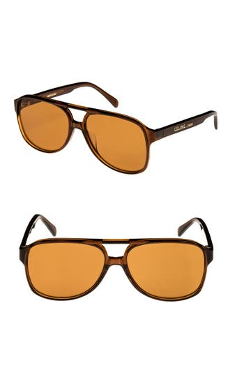 Celine 62Mm Oversize Aviator Sunglasses - Brown Vintage