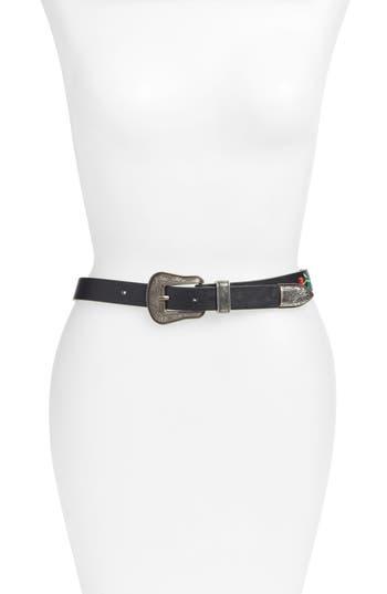 Lodis Rose Embroidered Belt, Black-Blk