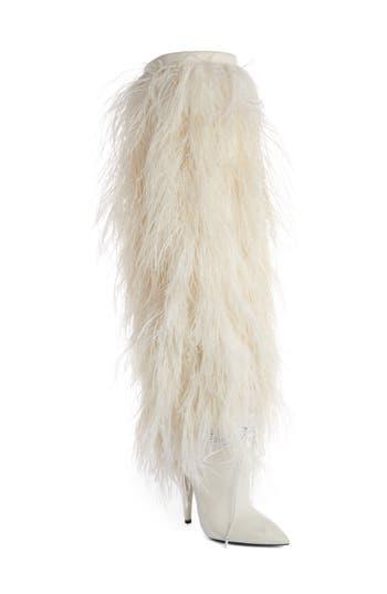 Saint Laurent Yeti Tall Boot, White