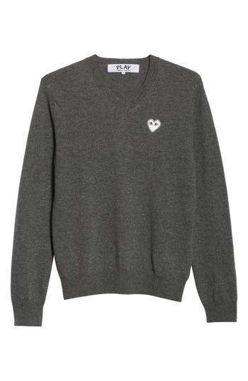 Comme Des Garcons Play White Heart Wool V-Neck Sweater, Grey