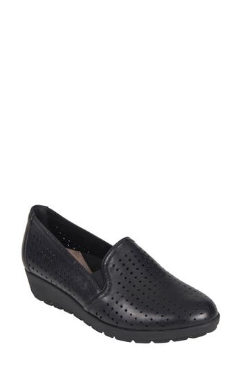 Earth Juniper Perforated Slip-On Wedge, Black
