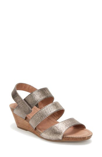 Women's Adam Tucker Tora Wedge Sandal, Size 5.5 M - Metallic