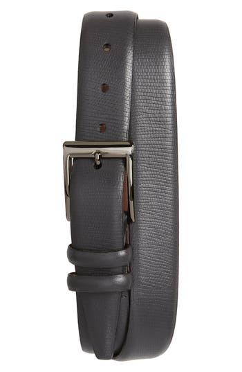 Big & Tall Torino Belts Lizard Embossed Leather Belt, Grey