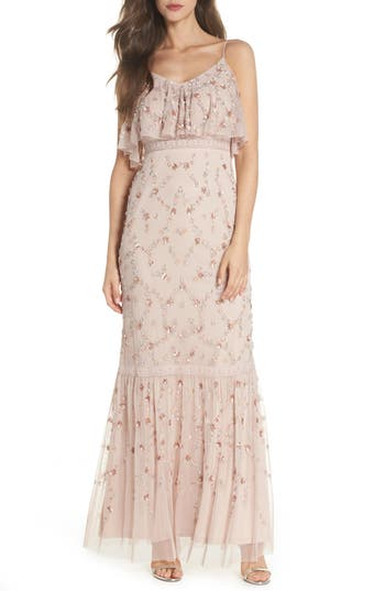 Adrianna Papell Embellished Mesh Popover Gown, Pink
