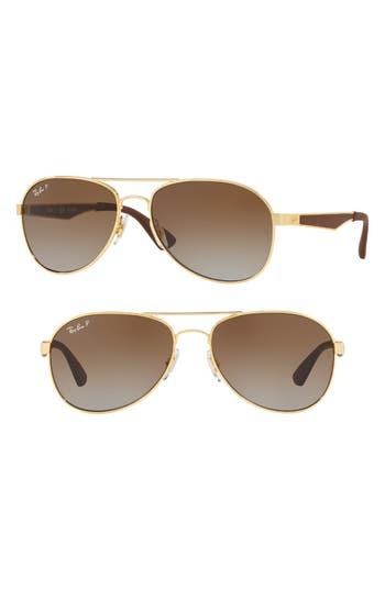Ray-Ban Active Lifestyle 61Mm Polarized Pilot Sunglasses - Gold