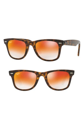 Ray-Ban Wayfarer 50Mm Mirrored Sunglasses - Havana