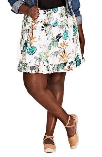 Plus Size City Chic Jungle Study Skirt, White