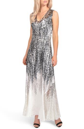 Komarov Lace-Up Charmeuse Maxi Dress, Black
