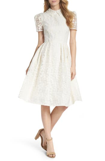 Vintage Inspired Wedding Dress | Vintage Style Wedding Dresses Womens Gal Meets Glam Collection Amelia Embroidered Fit  Flare Dress $220.00 AT vintagedancer.com
