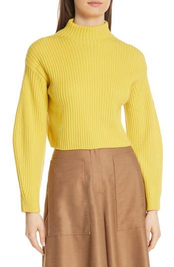 Tibi Structured Merino Wool Crop Sweater, Yellow