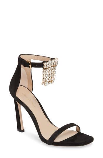 Women's Stuart Weitzman 100Fringesquarenudist Sandal, Size 10 M - Black