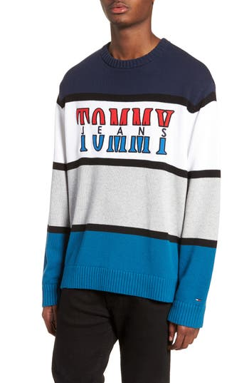 Tommy Jeans Retro Colorblock Sweater, Blue