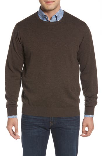 Peter Millar Wool & Cotton Crewneck Sweater, Brown