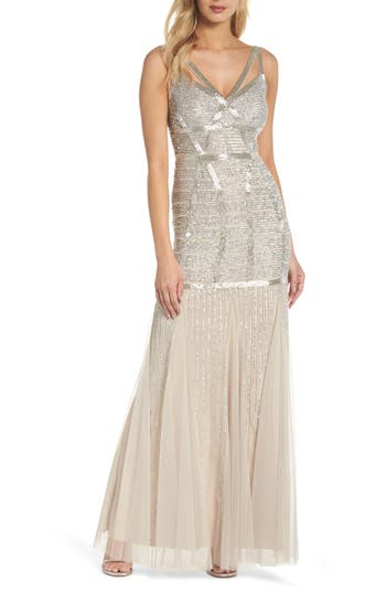 Vintage Evening Dresses and Formal Evening Gowns Papell Beaded Sleeveless Mermaid Gown $369.00 AT vintagedancer.com