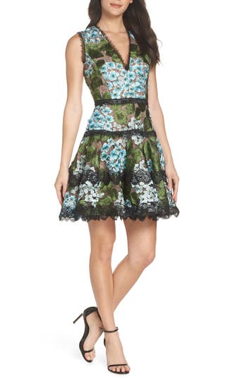 Blue Cherry Hydrangea Embroidered Fit & Flare Dress, Multicolor
