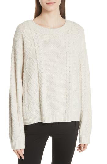 Vince Wool & Cashmere Blend Cable Knit Sweater, Ivory