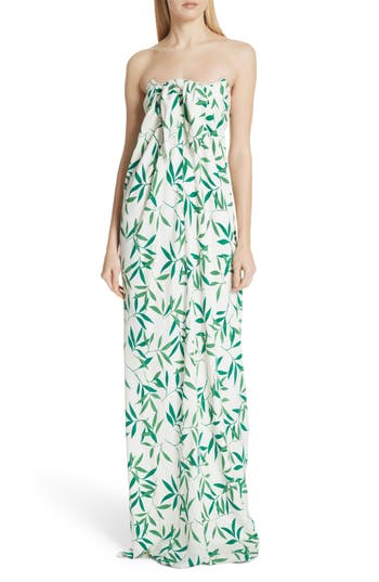 Caroline Constas Kaia Strapless Stretch Silk Gown, White