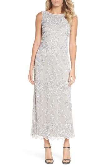 Pisarro Nights Embellished Mesh Gown, Metallic