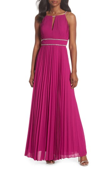 Eliza J Jeweled Strap Pleated Gown, Pink