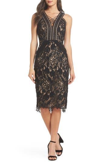 Harlyn V-Neck Lace Cocktail Dress, Black
