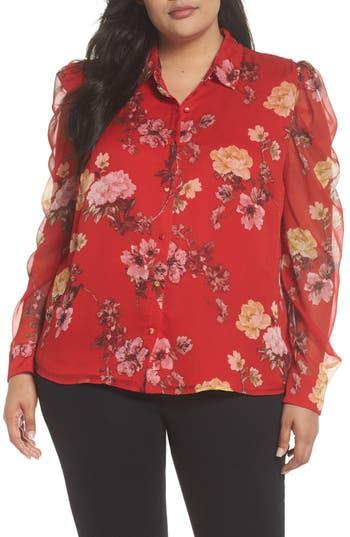 1930s Style Blouses, Shirts, Tops | Vintage Blouses Plus Size Womens Vince Camuto Mutton Sleeve Garden Fleur Blouse Size 1X - Red $74.40 AT vintagedancer.com