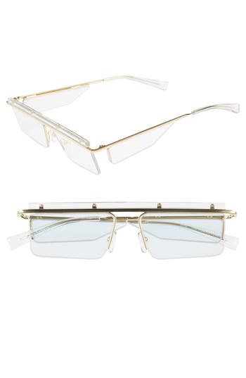 Adam Selman X Le Specs Luxe The Flex 55Mm Semi Rimless Sunglasses - Gold/clear