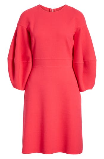 Oscar De La Renta Balloon Sleeve Stretch Wool Dress, Red