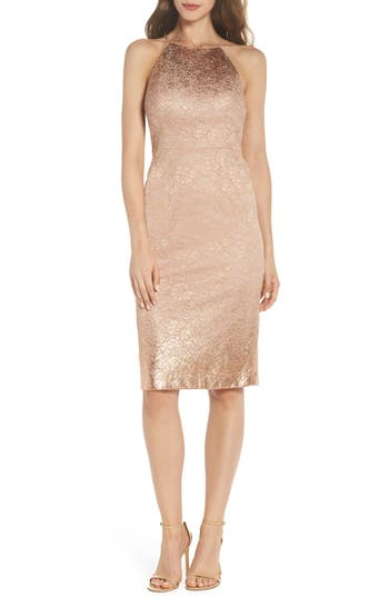 Adrianna Papell Foil Lace Sheath Dress, Pink