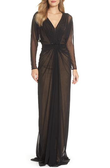Edwardian Evening Gowns | Victorian Evening Dresses Womens Tadashi Shoji Mesh Gown $428.00 AT vintagedancer.com