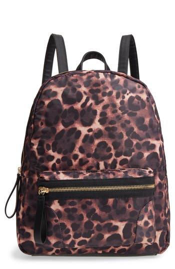 Emperia Leopard Print Nylon Backpack - Brown