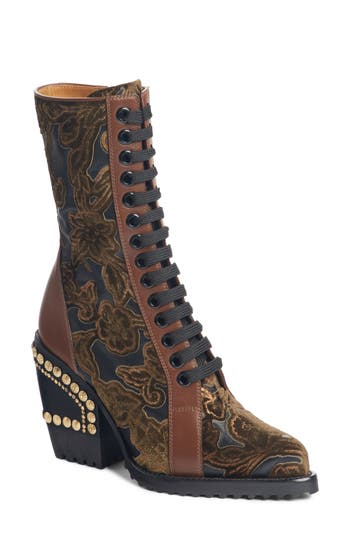 Chloe Rylee Floral Studded Mid Calf Bootie, Brown
