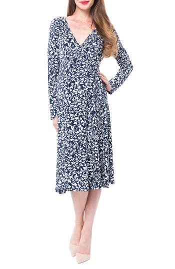 Vintage Style Maternity Clothes Womens Nom Maternity Tessa Jersey Maternitynursing Wrap Dress Size X-Large - Blue $98.00 AT vintagedancer.com