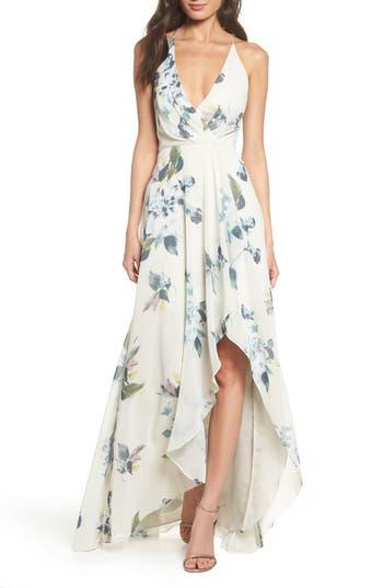 Farrah Halter Gown, Black Multi