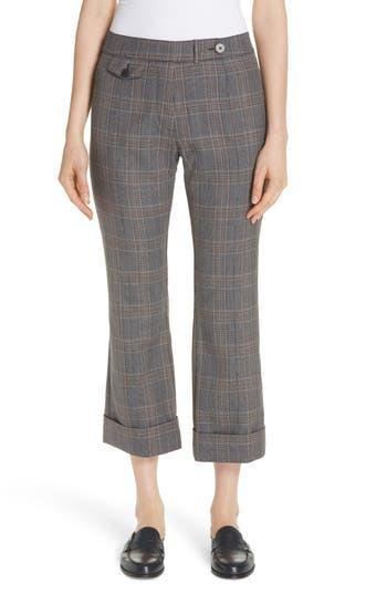 Derek Lam 10 Crosby Plaid Crop Flare Pants, Grey